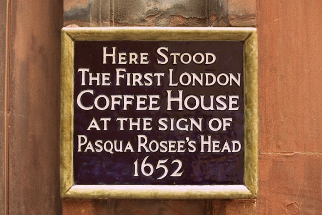 Sign commemorating London's first coffee house
