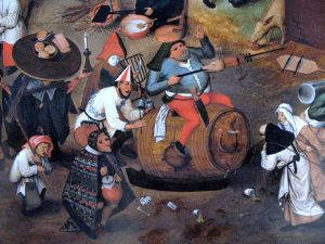 Detail from Bruegel's Combat between Carnival and Lent