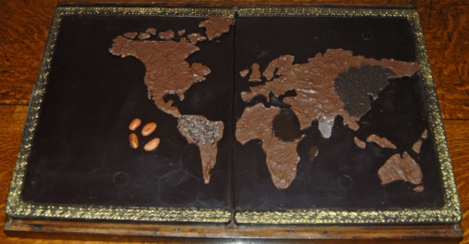 A world of chocolate: Sophie's map included tea, coffee, chocolate, and sugar to remind us that these 'new world' products transformed the habits of old Europe.