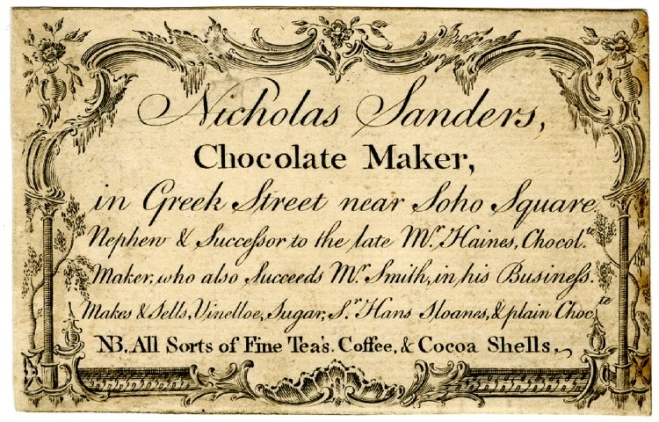 Trade card of Nicholas Sanders, chocolate maker, c. 1750