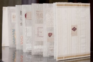 The White linen side of Jan's hand-woven book