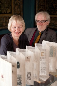Jan Garside, with one of her collaborators, John Angus, and the woven book